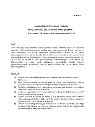 Borçlar Özel Hukuku Dersi (Çift Numaralı ve 2.Öğretim Öğrencileri)
