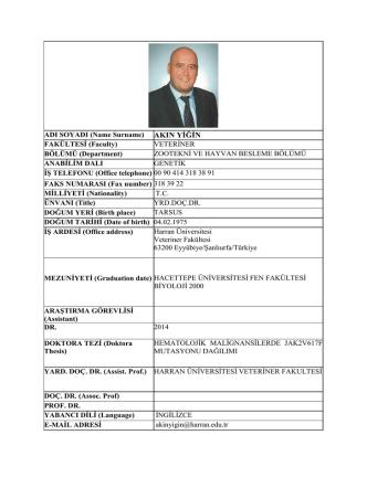 ADI SOYADI (Name Surname) AKIN YİĞİN FAKÜLTESİ