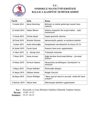 2014-2015 Seminer Listesi - Havacılık ve Uzay Bilimleri Fakültesi