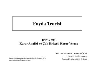 Beklenen Fayda Teorisi - Pamukkale Üniversitesi
