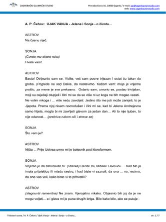 A. P. Čehov: UJAK VANJA - Jelena i Sonja - o životu
