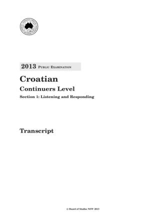 2013 HSC Croatian Continuers - Transcript