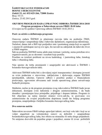 55/15. Zenica, 23.02.2015.god. - Šahovski savez Federacije Bosne i
