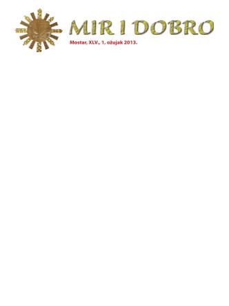 1_mir 1_2013.pdf - Hercegovačka franjevačka provincija Uznesenja