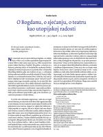 O Bogdanu, o sjećanju, o teatru kao utopijskoj radosti