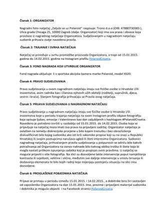 """Članak 1: ORGANIZATOR Nagradni foto natječaj """"Zaljubi se"""