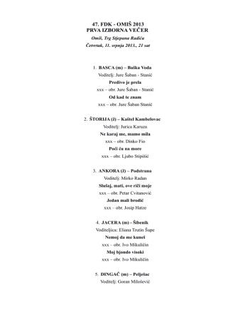 47. fdk - omiš 2013 prva izborna večer