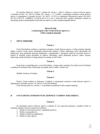 1 PRAVILNIK o unutarnjem redu Ureda državne uprave u Ličko
