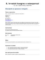 Obavijest za sponzore i izlagače - 8. hrvatski kongres o osteoporozi