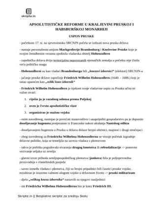apsolutističke reforme u kraljevini pruskoj i habsburškoj