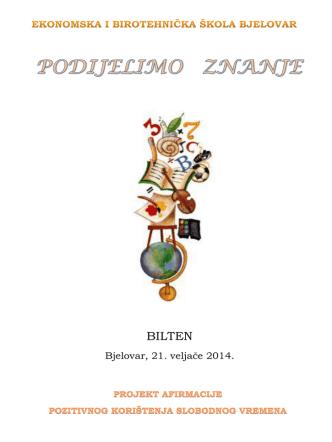 bilten - Ekonomska i birotehnička škola Bjelovar