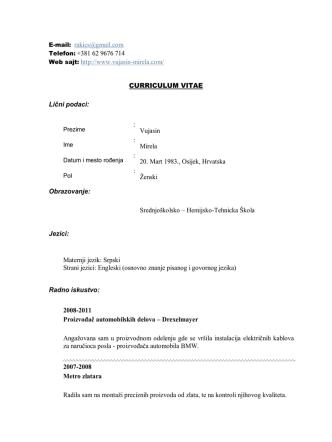 CURRICULUM VITAE - Mirela Vujasin Resume