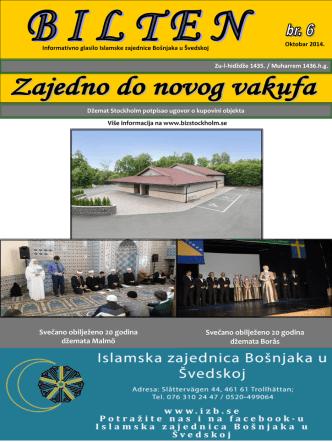 Bilten br. 6 - Islamska zajednica Bošnjaka u Švedskoj
