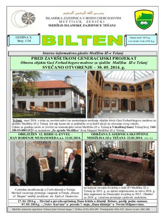 30. 05. 2014. g. - Medžlis Islamske zajednice Tešanj