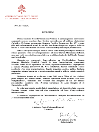( P. Antonius Ward ) Subsecretarius ( Antonius Card. Cañizares