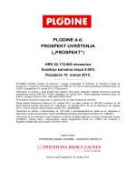 Plodine Obveznice 2015-Prospekt uvrštenja