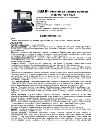 DEJA M - Program za vođenje skladišta mob. 091/508 4220