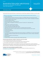 Kontrolna lista prije vakcinisanja