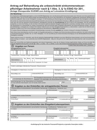 Antrag auf Behandlung als unbeschränkt einkommensteuer