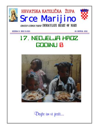 29. srpnja - July 29th - Hrvatska katolička župa Srca Marijina