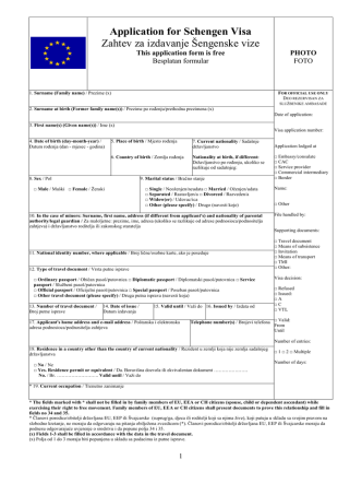 Application for Schengen Visa Zahtev za