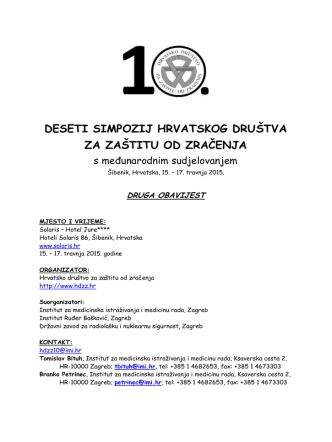 10.simpozij HDZZ - Druga obavijest