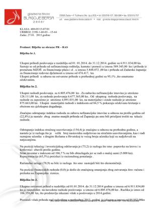 (Bilješke uz obrazac PR RAS) - Glazbena škola Blagoje Bersa