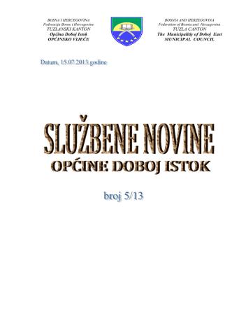 2 MB 2nd Aug 2013 službene novine općine doboj istok broj 5-13