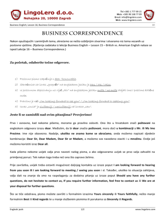 BE-L16-Business Correspondence