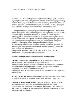 Bjesnoća - Zavod za javno zdravstvo Krapinsko
