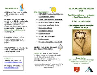 53. PLANINARSKI KRIŽNI PUT Sveti Ivan Žabno – Vrbovec