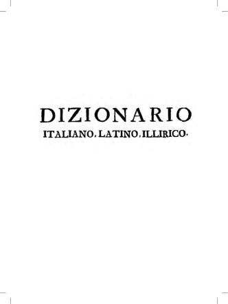 Ardelio Della Bella, Instruzioni grammaticali della lingua illirica