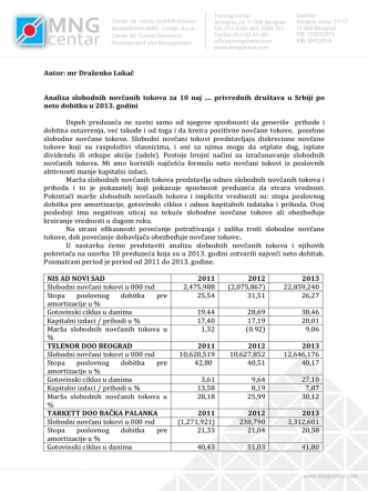 Autor: mr Draženko Lukač Analiza slobodnih novčanih tokova za 10