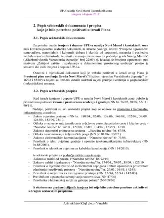 2. Popis sektorskih dokumenata i propisa koje je bilo potrebno