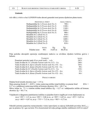 C6 1-20 Zadatak: M/B «BELLATRIX»u luci LONDON treba ukrcati