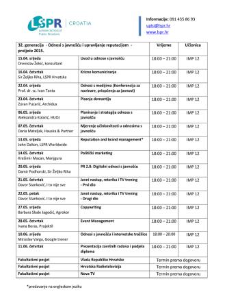 32. generacija LSPR Diploma program – Raspored predavanja
