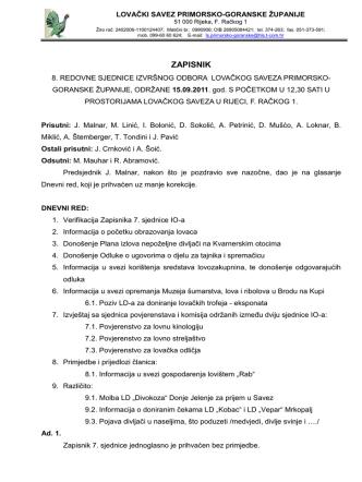 8. sjednica 15.09.2011. - Lovački savez Primorsko goranske županije