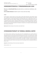 hidrokineziterapija u termomineralnoj vodi hydrokinesitherapy