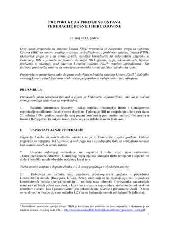 b) Preporuke za promjenu Ustava FBiH