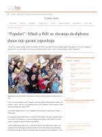 """""""Populari"""": Mladi u BiH ne shvataju da diploma danas nije garant"""