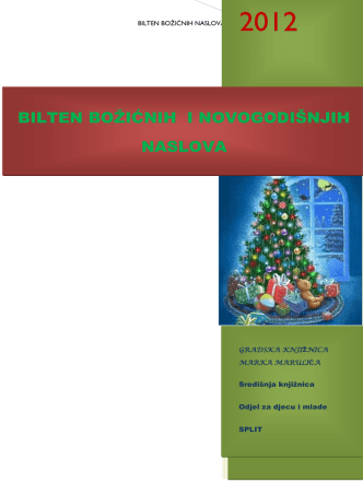 BILTEN BOŽIĆNIH NASLOVA - Gradska knjižnica Marka Marulića