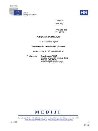 3336. sastanak Vijeća Pravosuđe i unutarnji poslovi
