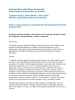PSIHOLOŠKA PRIPREMA SPORTAŠA Psychological Preparation of