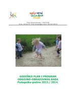 Godišnji plan rada DV - Dječji vrtić Olga Ban Pazin