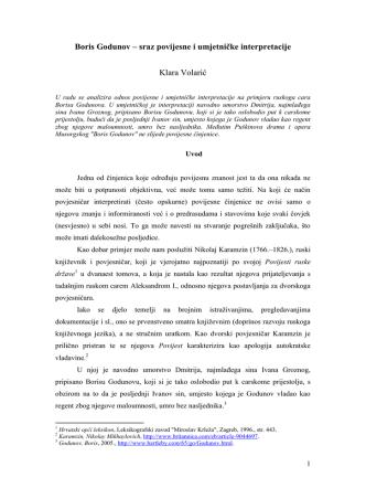 Boris Godunov – sraz povijesne i umjetničke interpretacije