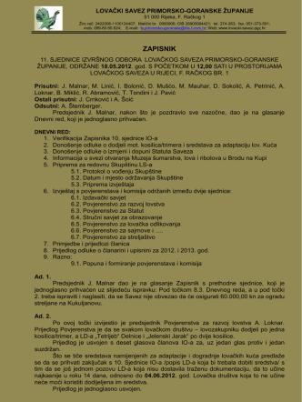 11. sjednica 18.05.2012. - Lovački savez Primorsko goranske županije