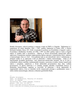 Branko Grisogono, redoviti profesor u trajnom zvanju na PMF