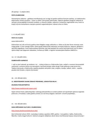 29.siječnja – 2.veljače 2015. FESTA DUBROVNIK Humanitarna