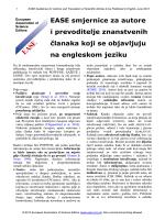 EASE smjernice za autore i prevoditelje znanstvenih članaka koji se