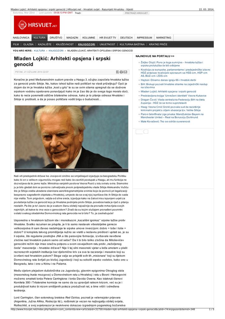 Mladen Lojkic Arhitekti Opsjena I Srpski Genocid Hrsvijet Net